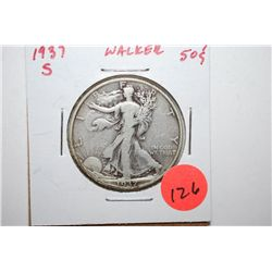 1937-S Walking Liberty Half Dollar; EST. $10-20