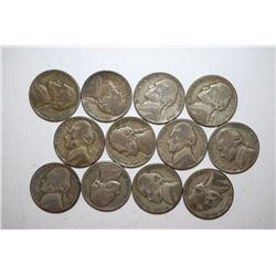 Jefferson Wartime Nickel; Various Dates & Conditions; Lot of 12 Silver; EST. $20-35