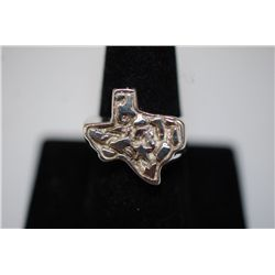 Sterling Silver Ring Size 10 With State Of Texas On Top; .925 Silver; EST. $10-20