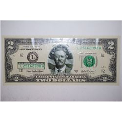 2003-A US Federal Reserve Note $2; San Francisco CA Reserve; T. Roosevelt 26th President Bill; EST.