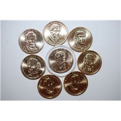 US Presidential $1 Coin; Various Dates & Presidents; Lot of 8; EST. $8-15