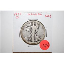 1937-D Walking Liberty Half Dollar; EST. $10-20