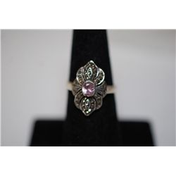 Sterling Silver Ring Size 6.5 With Pink Stone; .925 Silver; EST. $10-20