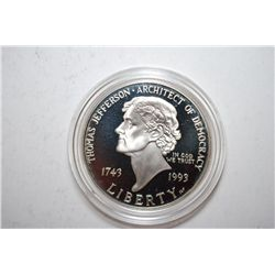 1993-S US Thomas Jefferson 250th Anniversary Silver Dollar Proof; 90% Silver .76 Oz.; EST. $35-45