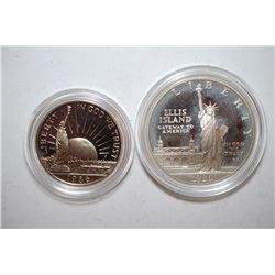 1986-S US Liberty Ellis Island Commemorative Two-Coin Proof Set; Silver Dollar & Half Dollar; EST. $