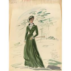 Edith Head costume sketch of Barbara Hale for  Far Horizons