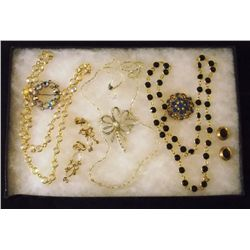 Lot of Necklaces, Earrings, and Brooches with Clea Vintage Costume Jewelry Lot of Necklaces, Ear Rin
