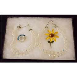 Lot of Necklaces, and Brooches with Clear Aurora B Vintage Costume Jewelry Lot of Necklaces and Broo