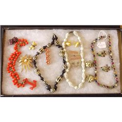 Lot of Early Necklaces, Earrings and Brooches with Vintage Costume Jewelry Lot of Early Necklaces, E