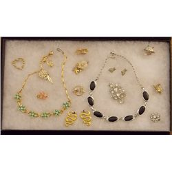 Lot of Necklaces, Earrings, and Brooches with Rhin Vintage Costume Jewelry Lot of Necklaces, Ear Rin