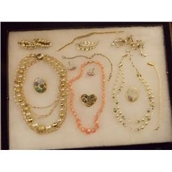 Lot of Necklaces, Earrings, Bracelets and Brooches Vintage Costume Jewelry Lot of Necklaces, Ear Rin