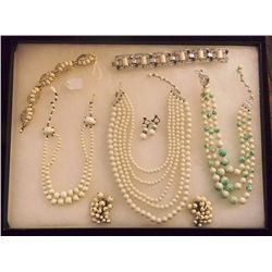 Lot of Necklaces, Earrings, and Bracelet with Milk Vintage Costume Jewelry Lot of Necklaces, Ear Rin