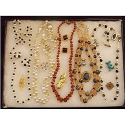 Lot of Necklaces, Earrings, and Brooches with Citr Vintage Costume Jewelry Lot of Necklaces, Ear Rin