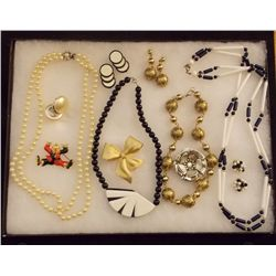 Lot of Necklaces, Earrings, and Brooches with Bead Vintage Costume Jewelry Lot of Necklaces, Ear Rin