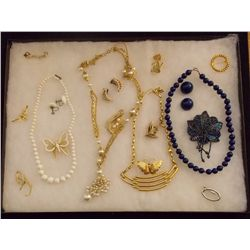 Lot of Necklaces Earrings, and Brooches with Golde Vintage Costume Jewelry Lot of Necklaces, Ear Rin