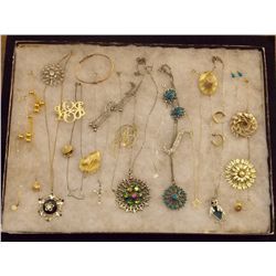 Lot of Necklaces Earrings, and Brooches with Rhine Vintage Costume Jewelry Lot of Necklaces, Ear Rin