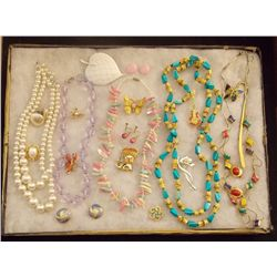 Lot of Necklaces Earrings, and Brooches with Faux Vintage Costume Jewelry Lot of Necklaces, Ear Ring