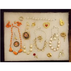 Lot of Necklaces Earrings, Bracelets, and Brooches Vintage Costume Jewelry Lot of Necklaces, Ear Rin