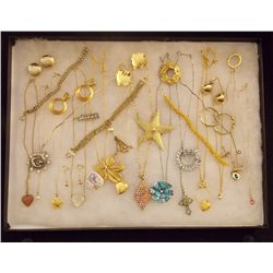 Lot of Golden and Silver Necklaces Earrings, Brace Vintage Costume Jewelry Lot of Golden and Silver