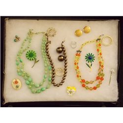 Lot of Necklaces, Earrings, and Brooches with Mult Vintage Costume Jewelry Lot of Necklaces Earrings