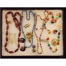 Lot of Necklaces, Earrings, and Brooches with Cell Vintage Costume Jewelry Lot of Necklaces Earrings