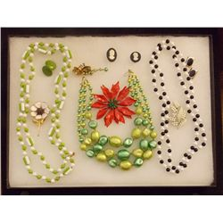 Lot of Necklaces, Earrings, and Brooches with Clea Vintage Costume Jewelry Lot of Necklaces Earrings
