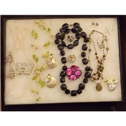 Lot of Necklaces, Earrings, and Brooches with Pink Vintage Costume Jewelry Lot of Necklaces Earrings