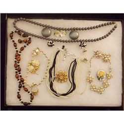 Lot of Necklaces, Earrings, and Brooches with Faux Vintage Costume Jewelry Lot of Necklaces Earrings