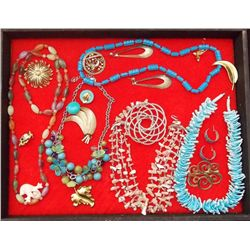 Lot of Necklaces, Earrings, and Brooches with Bead Vintage Costume Jewelry Lot of Necklaces Earrings