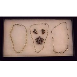 Lot of Crystal Necklaces on Silver Chain with Rhin Vintage Costume Jewelry Lot of Crystal Necklaces