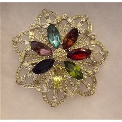 Vintage Brooch with Rhinestones Vintage Costume Jewelry Brooch with Rhinestones from the '70s.  Come