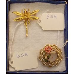 Vintage Brooch Signed B.S.K. Vintage Costume Jewelry Brooch from the '60s. Signed/Marked B.S.K. Come