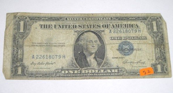1935 SERIES E $1 SILVER CERTIFICATE DOLLAR BILL SERIAL # A22618079H ...