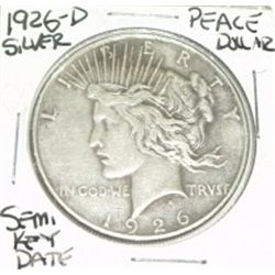 1926-D PEACE SILVER DOLLAR *RARE SEMI-KEY DATE* COIN CAME OUT OF SAFE!!!