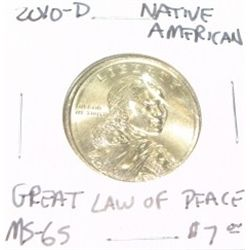 2010-D NATIVE AMERICAN $1 COIN RED BOOK VALUE IS $7.00 *RARE MS-65 HIGH GRADE GREAT LAW OF PEACE*!!