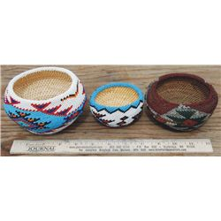 3 small beaded baskets