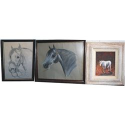 2 Tiffany signed prints & oil of horse