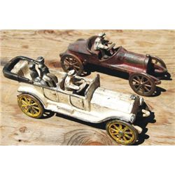 cast iron toy car, the white one in front