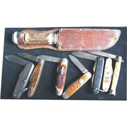 hunting knife and 7 pocket knives