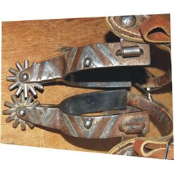 Miller Bit and Spur Co. silver inlaid spurs