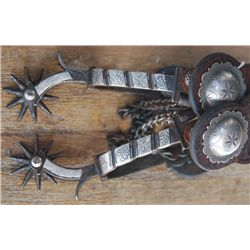 Buermann Calif style silver inlaid spurs