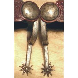 Morales silver nlaid long shank spurs with nice straps