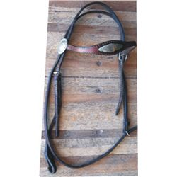 Silver mounted brow band headstall