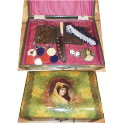 Ladies celluloid box filled with goodies