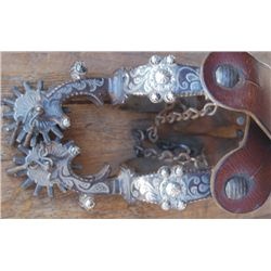 Calif style silver inlaid spurs