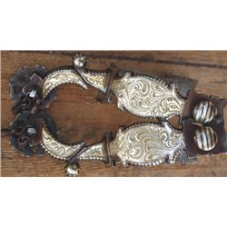 Calif silver inlaid spurs with card suit rowels
