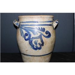 "BLUE DECORATED STONEWARE CROCK - MINT - 11.5"" X 11"""