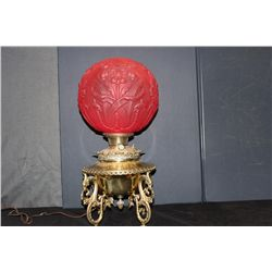 BRASS & SATIN GLASS BANQUET LAMP