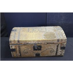 ORNATE LEATHER DECORATED CHILDS TRUNK
