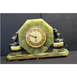 GREAT DECO ALABASTER & MARBLE CLOCK - WORKS PERFECT